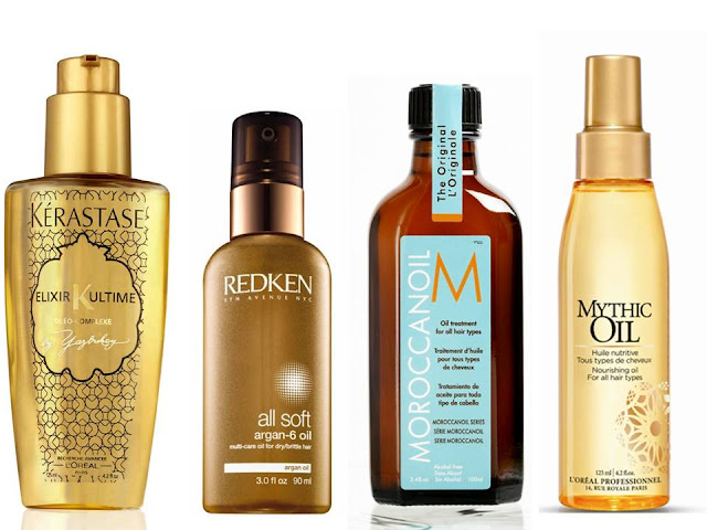 Кілька варіантів зволожуючих масел для волосся.