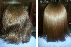 До і після екранування волосся.
