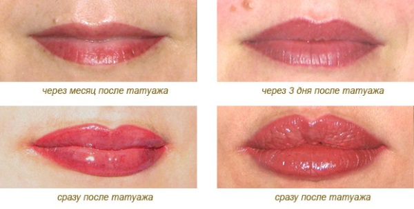 Приклади татуажу губ. Відразу після нанесенні і через деякий час.